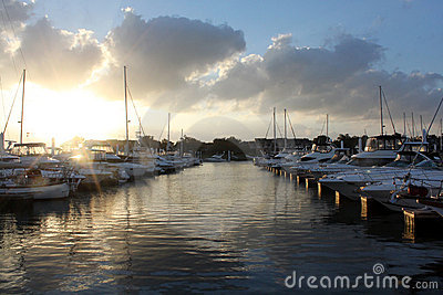 Docked Boats at Sunset