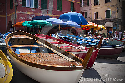 Docked Boats in Vernazza Editorial Stock Image