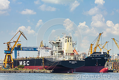 Docked bulk cargo ships Editorial Stock Image