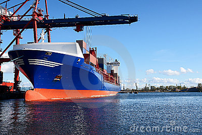 Docked cargo or container ship
