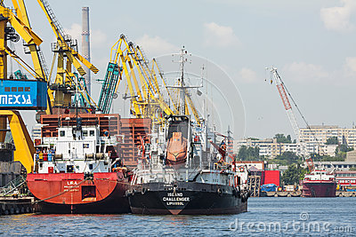 Docked cargo ships Editorial Stock Image