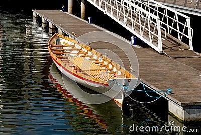 Docked gondola or longboat