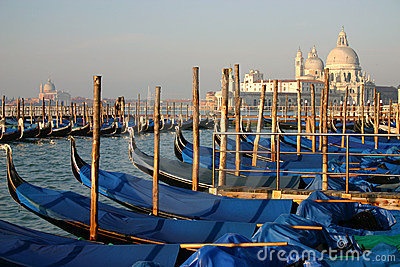 Docked Gondolas in Morning Light