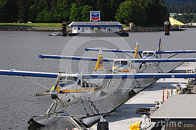Docked seaplanes in Vancouver Editorial Stock Image