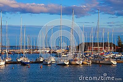 Docked yachts in Helsinki