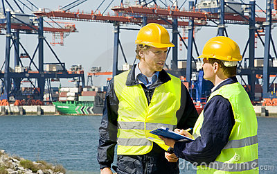 Dockers In A Container Harbor Stock Images - Image: 19556734