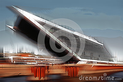 Dockland building, Hamburg, graphically abstract & x28;digitally manipulated& x29;