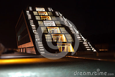 Dockland building in Hamburg by night