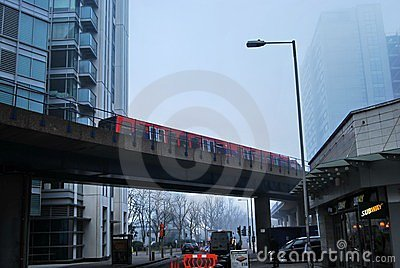 Docklands Light Railway Train over Road Editorial Photography