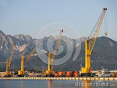 Docks, derricks, Marina di Carrara, Italy