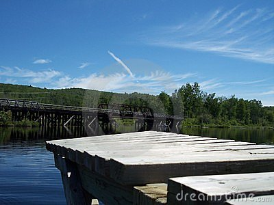 Docks and a Rail Bridge