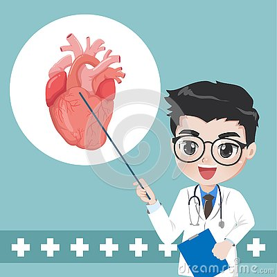 Doctor advise and teaches knowledge for heart diseases Vector Illustration