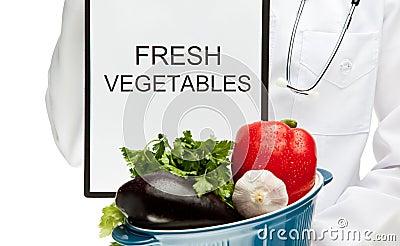 Doctor advising eating fresh vegetables