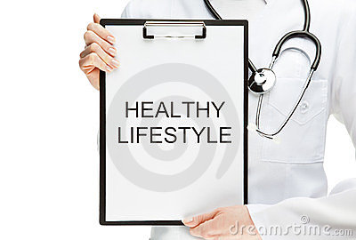Doctor advising healthy lifestyle