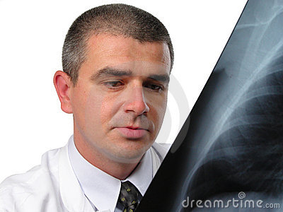 Doctor analyzing a chest radiography