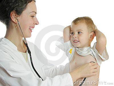 Doctor assessing boy