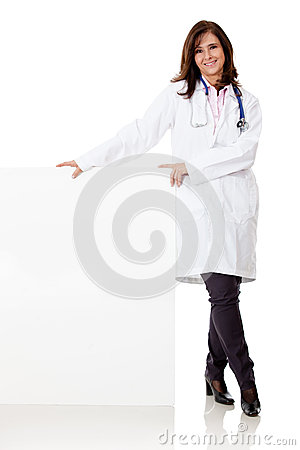 Doctor with a banner