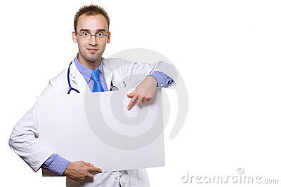Doctor and blank board