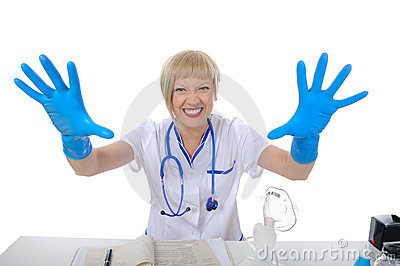 Doctor in blue gloves.