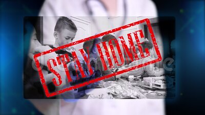 Doctor, in blue medical gloves, presents hologram image of children collecting designer. Doctor makes freeze frame, puts. Stamp - stay home. Prohibitions during stock footage