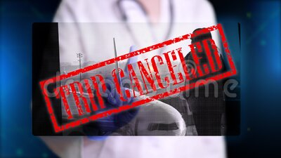 Doctor, in blue medical gloves, presents hologram image of woman waiting at airport. Doctor makes freeze frame, puts. Stamp - trip canceled. Prohibitions during stock video footage