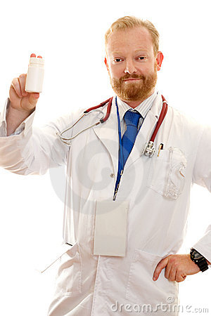 Doctor with a bottle or pills