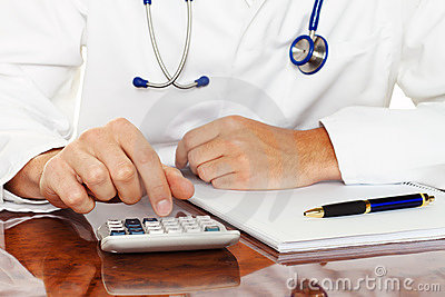Doctor with calculator