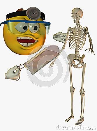 Doctor cartoon and skeleton