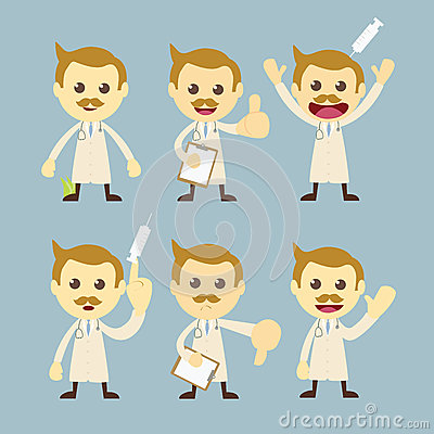 Doctor character set cartoon