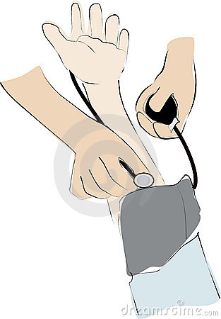 The doctor check blood pressure patient