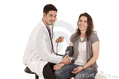 Doctor check blood pressure smile