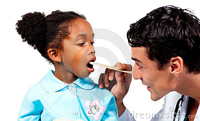 Doctor checking his patient s throat