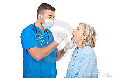 Doctor checking for sore throat