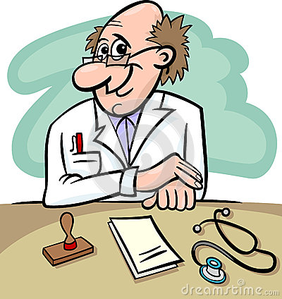 Doctor in clinic cartoon illustration