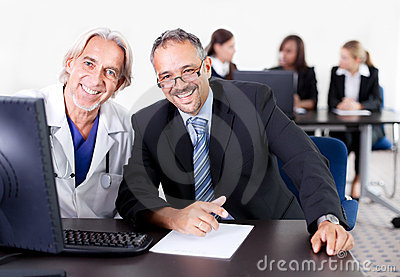 Doctor discussing with patient at his clinic