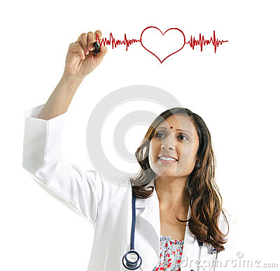 Doctor drawing a heartbeat