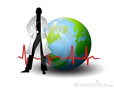 Doctor With Earth And EKG Line