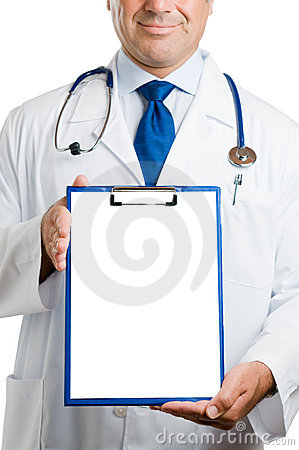 Doctor with empty clipboard