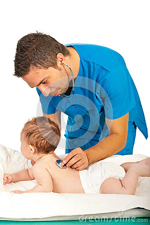 Doctor examine breath to baby