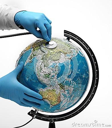 Doctor examine globe