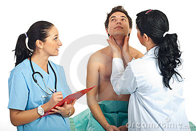Doctor examine thyroid male patient