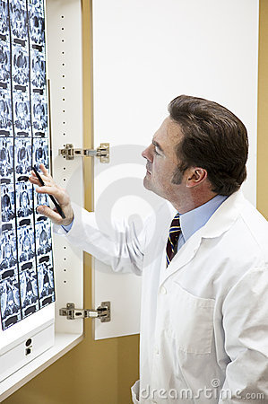Doctor Examines Cat Scan