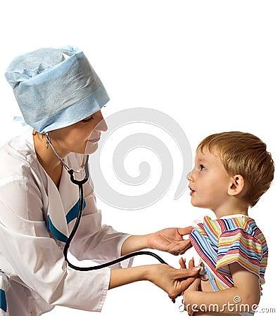 Doctor examines the patient
