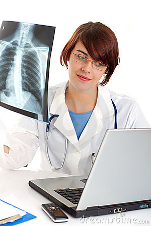 Doctor examining an x-ray image