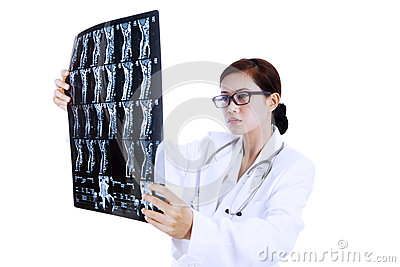 Doctor examining x-ray results