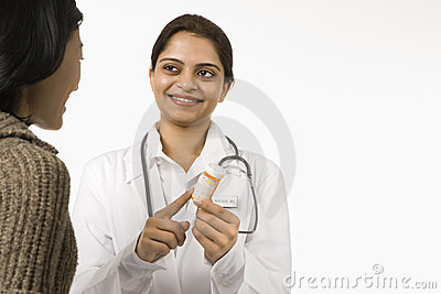 Doctor explaining medication.