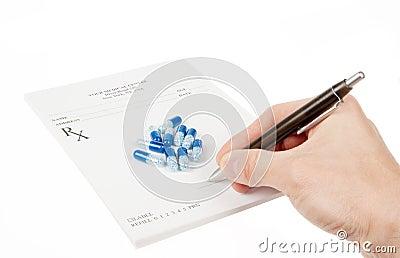 Doctor filling in empty medical prescription