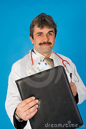 Doctor with folder and money