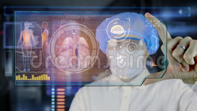 Doctor with futuristic hud screen tablet. lungs, bronchi. Medical concept of the future.  royalty free illustration