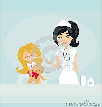 Doctor giving girl checkup